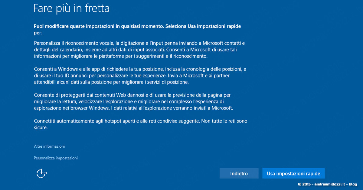 Andrea Millozzi blog | Microsoft Windows 10 | Fare più in fretta