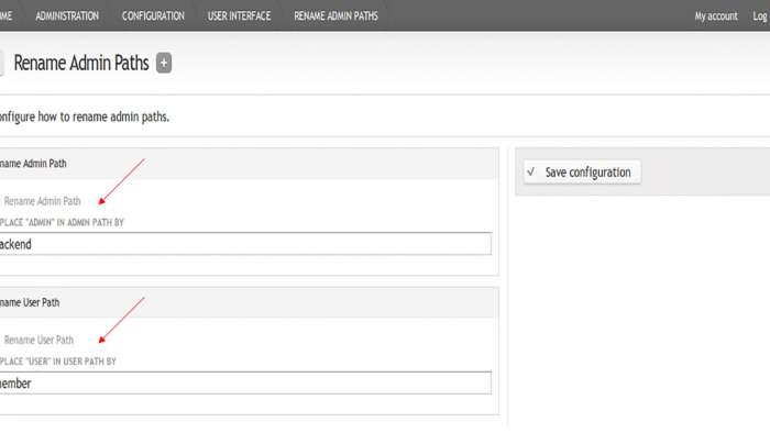 Andrea Millozzi blog - Rename Admin Paths: un modulo Drupal per proteggere il sito da spam bots e malintenzionati - settaggi