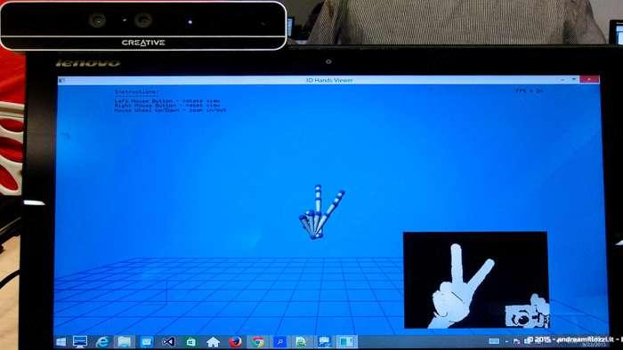Andrea Millozzi blog - Intel® RealSense™ 3D Hands-on Lab Roma 2015: la tecnologia del futuro è a portata di webcam - dettaglio rilevamento mano
