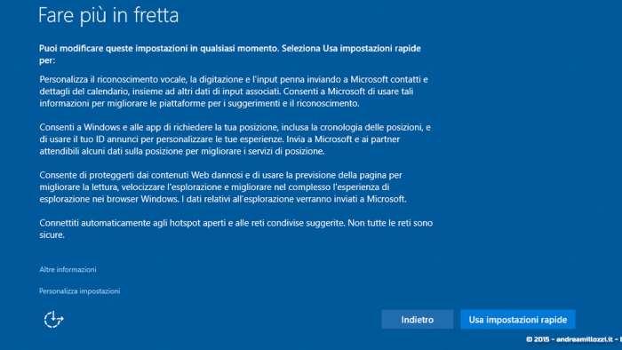 Andrea Millozzi blog - Microsoft Windows 10: consigli per difendere la privacy e vivere tranquilli - schermata iniziale