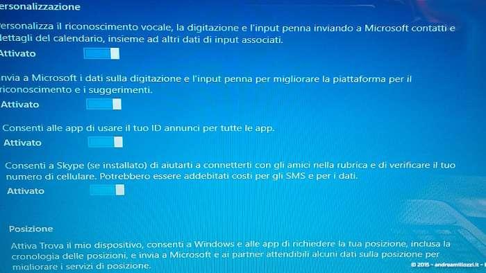 Andrea Millozzi blog - Microsoft Windows 10: consigli per difendere la privacy e vivere tranquilli - personalizza impostazioni sezione 1
