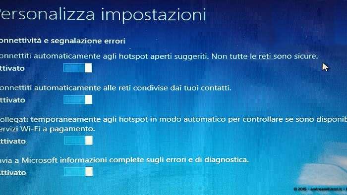 Andrea Millozzi blog - Microsoft Windows 10: consigli per difendere la privacy e vivere tranquilli - personalizza impostazioni sezione 2