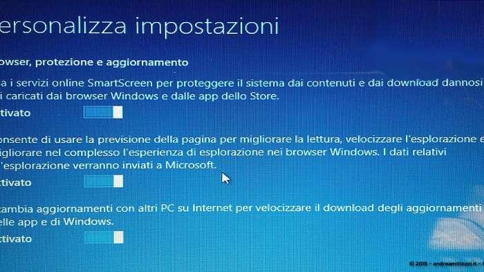 Andrea Millozzi blog - Microsoft Windows 10: consigli per difendere la privacy e vivere tranquilli - personalizza impostazioni sezione 3