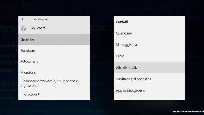 Andrea Millozzi blog - Microsoft Windows 10: consigli per difendere la privacy e vivere tranquilli - opzioni privacy
