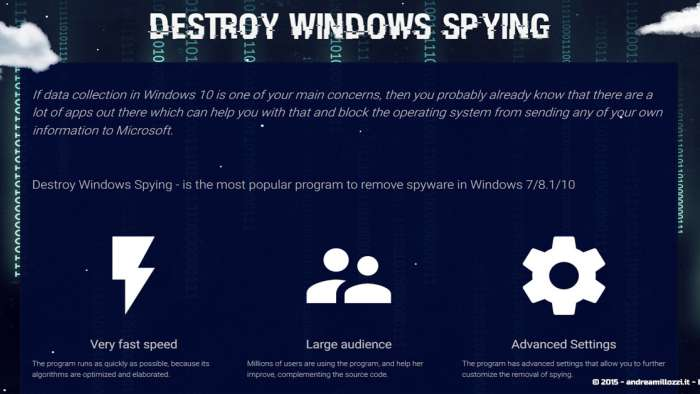 Andrea Millozzi blog - Microsoft Windows 10: consigli per difendere la privacy e vivere tranquilli - Destroy Windows Spying