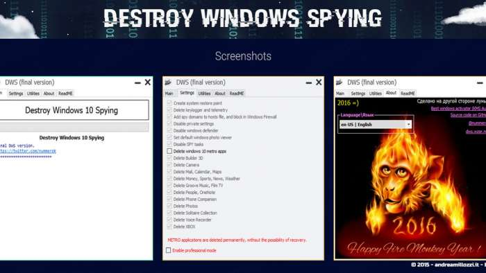 Andrea Millozzi blog - Microsoft Windows 10: consigli per difendere la privacy e vivere tranquilli - Destroy Windows Spying, screenshots