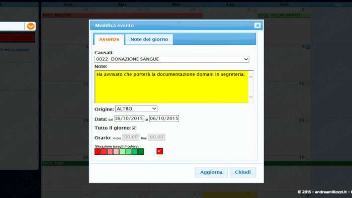 Andrea Millozzi blog - Applicativo: agenda per ufficio realizzata in HTML5, CSS3 e jQuery + FullCalendar - dettaglio inserimento nota