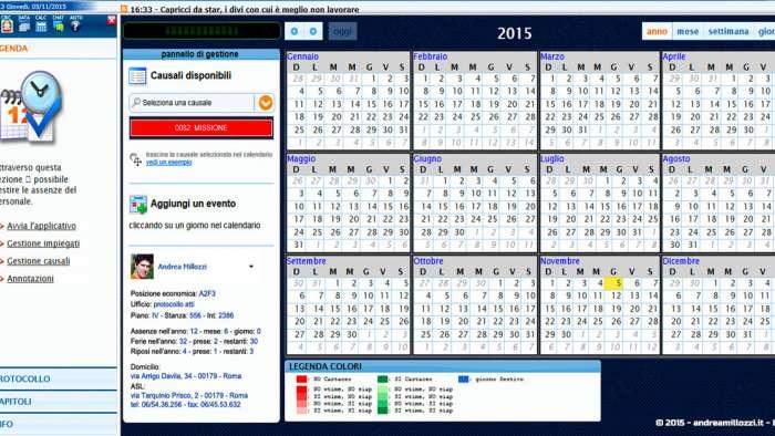 Andrea Millozzi blog - Applicativo: agenda per ufficio realizzata in HTML5, CSS3 e jQuery + FullCalendar - visualizzazione annuale