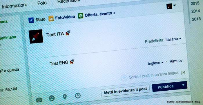 Andrea Millozzi blog | Pagine Facebook: abilitare la funzione per scrivere Pagine multilingua e rivolgersi ad una utenza internazionale